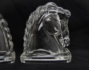 Vintage Horse head bookends, clear glass horse heads, horse decor