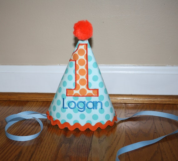 Turquoise Blue Boys First Birthday Hat Boys 1st Birthday Hat