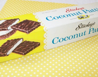 SALE - Vintage Stuckey's Coconut Patties box, souvenir, 1970s, 1960s
