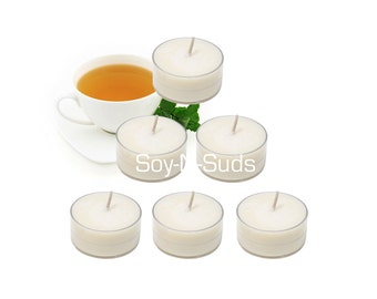 Soy Tea Lights, Soy Candles, WHITE TEA & GINGER, Dye Free, T Lites, 6 Pack, White Candles, Anytime Candles, soyNsuds, Made in Wisconsin