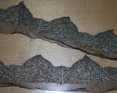 Antique Silk Metallic Net Lace Appliques Peacock Like Rework Repurpose Millinery