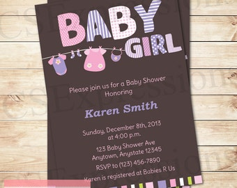 Baby Girl Clothesline Baby Shower Invitation