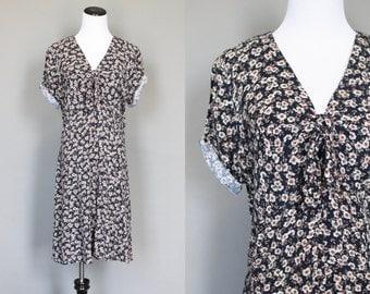 Vintage 1990s Romper 90s Floral Rayon Playsuit Short Sleeve Ditsy Flower Print Shorts M L