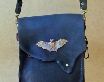Vampire Burgundy and Black Leather mini messenger bag with Bat