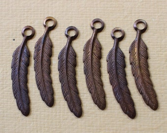 Vintage Oxidized Brass Feather Charms