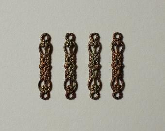 Vintage Oxidized Brass Filigree Connectors