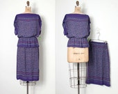 vintage 1970s skirt set / rayon purple print 70s skirt set  / Maggie Mae