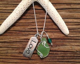 Kiwi Seaglass Charm Necklace