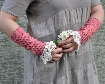 Summer Afternoon - crocheted open work lacy romantic multicolored wrist warmers mittens cuffs bridesmaid gift