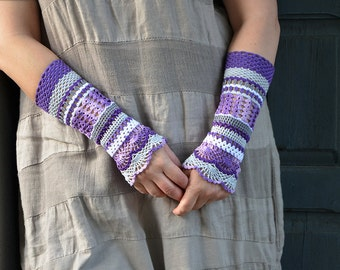 Total colorization: Purple- crocheted open work lacy romantic multicolored wrist warmers mittens cuffs