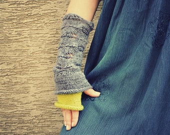 With little drop of Lime - hand knitted layered chunky long wrist warmers or mittens gray lime color