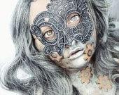 Steampunk embroidered lace mask