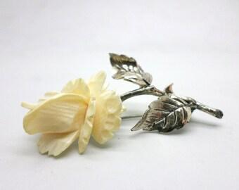 Vintage Sterling Silver Rose Flower Pin Brooch by Beau