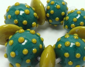 Lampwork bead set  -  Going Dotty  -  teal, green, ochre, yellow, senate, glass beads,