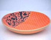 Large ceramic bowl, Unique Handmade pottery,Ceramic fruit bowl, woodland theme READY TO SHIP