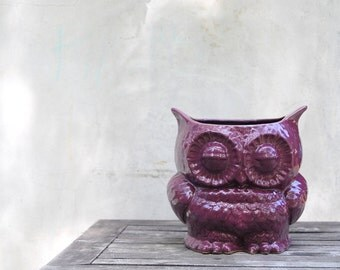 purple ceramic owl planter utensil holder