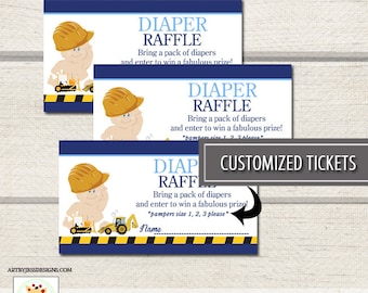 Construction Backhoe Baby Shower Boy Diaper Raffle Cards PDF file CUSTOMIZED