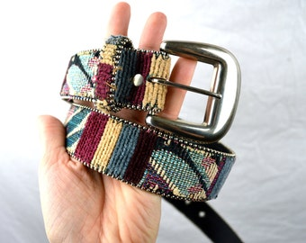 Vintage 80s Absolutely Fresh Southwest Woven Fabric Belt