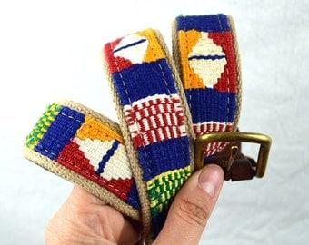 Vintage Leather Rainbow Woven Fabric Belt -  Size 38