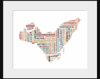 Montreal Map Typography Color Map Poster Print