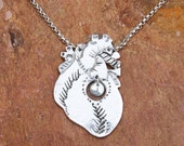 Mother's Necklace w 1 Child - Anatomical Heart -  Custom Initials - Hand Sculpted in Fine and Recycled Silver