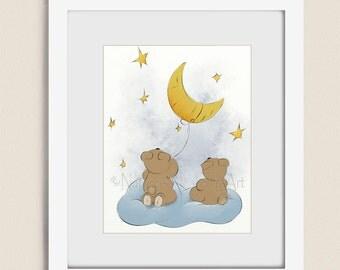 Teddy Bear Girls or Boys Nursery Art, 11 x 14 Kids Room Artwork, Childrens Wall Art Print, Moon and Stars Babys Wall Decor (271)
