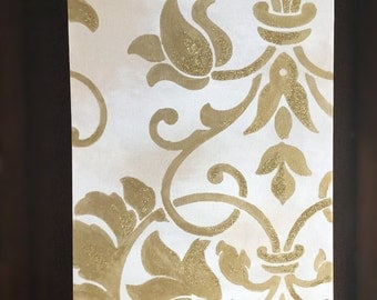 Gold damask painting with glitter size 16 x 12 inches ready to hang