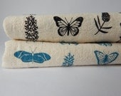 Kitchen Towel, Hand Printed, Butterfly Floral, Natural Cotton
