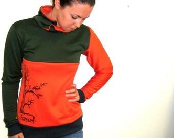 Orange Forest Green Cowl Collar Sweatshirt, Cowl Collar Shirt, Tree Sweatshirt, Surf Sweatshirt, Color Block Pullover, Skate Sweater, Surfer