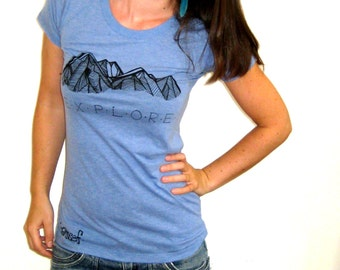 EXPLORE Womens Top. Blue Screen Print Tshirt. Womens Athletic Top. Explore Tee. Surfer Clothing. Pnw BC. Gifts for Hiker. Fitted Light Tee.