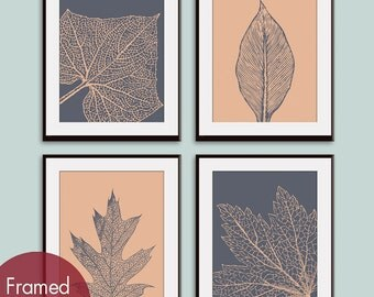 Leaf Botanicals (Series A) Set of 4 - Art Prints (Featured in River Rock and Ginger) Modern Botanical Leave Art Print