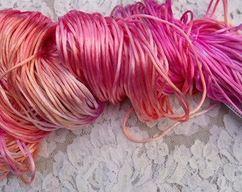 Gypsy silky Satin Cord lot 203 Hand Dyed Variegated colors 20 yards  CLOSE OUT SALE  limited