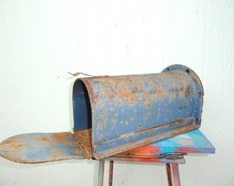 Vintage Mailbox Country Blue Rural Mail Box Industrial Iron