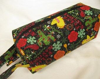 Feliz Navidad Christmas Cactus - Surprise embroidery Inside - Cosmetic Bag Makeup Bag LARGE