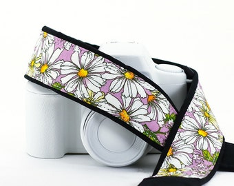 Camera Strap dSLR, Daisies, Lilac, Daisy, Flowers, Floral, Quick Release, SLR, Canon, Nikon, Sony,  11 w