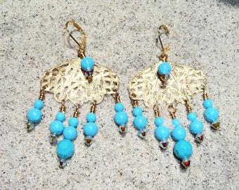 Florida Jupiter Beach Filigree Chandelier Earrings on Etsy by APURPLEPALM