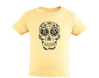 Apericots Toddler Unisex Kids Sugar Skull Sugarskull Day of Dead Soft Cotton Tee Fun Scary Spooky Gift Idea Dia De Los Muertos