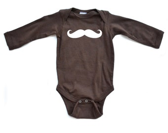 Cute Long Sleeve Baby Bodysuit With Fun Mustache Print Funny for Little Man