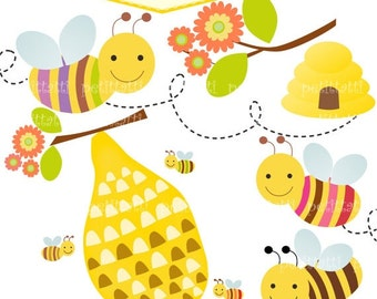 ON SALE bees clip art - Digital clip art for all use, bee and beehive clip art, INSTANT Download Digital clip art