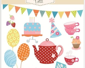 ON SALE tea party clip art - tea party clipart , Digital clip art for all use, girl tea party , tea pot clip art, balloons clip art, teacup