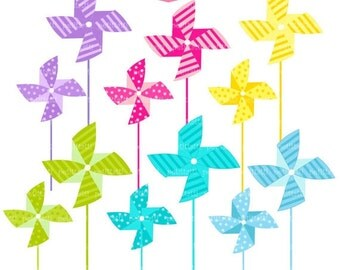 ON SALE Pinwheels clip art - Digital clip art for all use ,Instant Download Clip Art