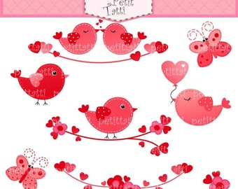 ON SALE birds clip art - Valentine's clip art, instant download Digital clip art, Love Birds with heart, birds clip art, hot pink, red