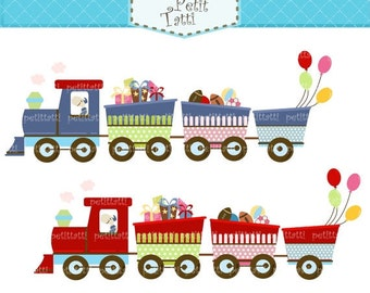 ON SALE train Digital clipart - Choo Choo train, children train clip art, instant download clip art
