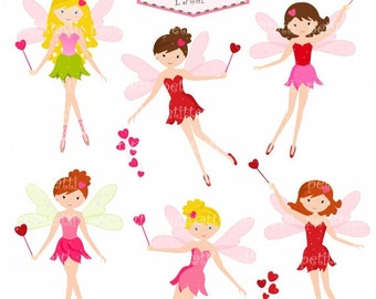 ON SALE fairy clip art- girls clip art , valentine's day clip art, fairies instant download digital scrapbook , girls birthday