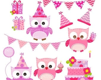 Birthday Owls Digital Clip Art // Owls clip art, Pink, lilac, purple, owl, cake, bunting, instant download, ON SALE