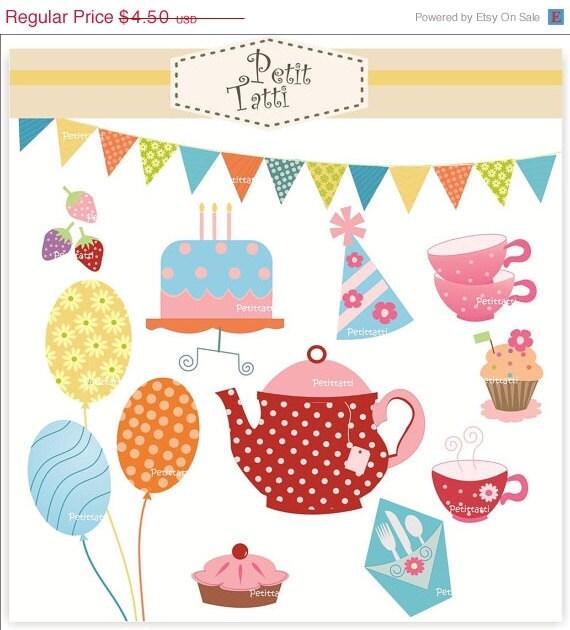 ON SALE tea party clip art - tea party clipart , Digital clip art for all use, girl tea party , tea pot clip art, balloons clip art, teacup