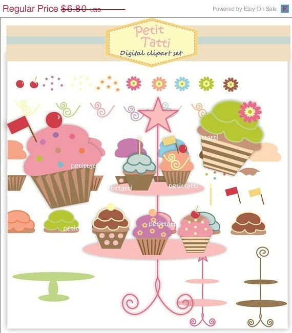 ON SALE Clip art cupcake. - DIY, Homemade Cupcake. Download and print Png Image ,instant download digital clip art