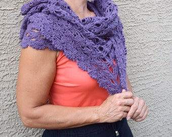 Crochet wrap lace scarf stole purple gift for her gift under 40 Christmas winter holidays