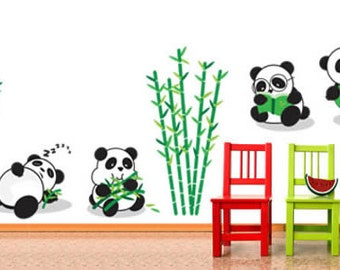 Playful Pandas Removable Vinyl Wall Decals - Set of 4