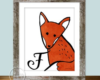 Fox Illustration Children's Alphabet Printable - Instant Download 8x10